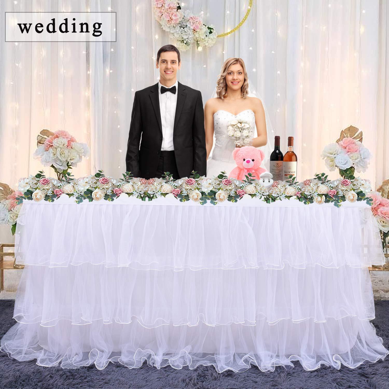 Leegleri White Tulle Tutu Table Skirt for Party,Baby Shower,Wedding Chiffon 3 Tier Ruffed Table Skirt for Rectangle or Round Table(9 ft table skirt)
