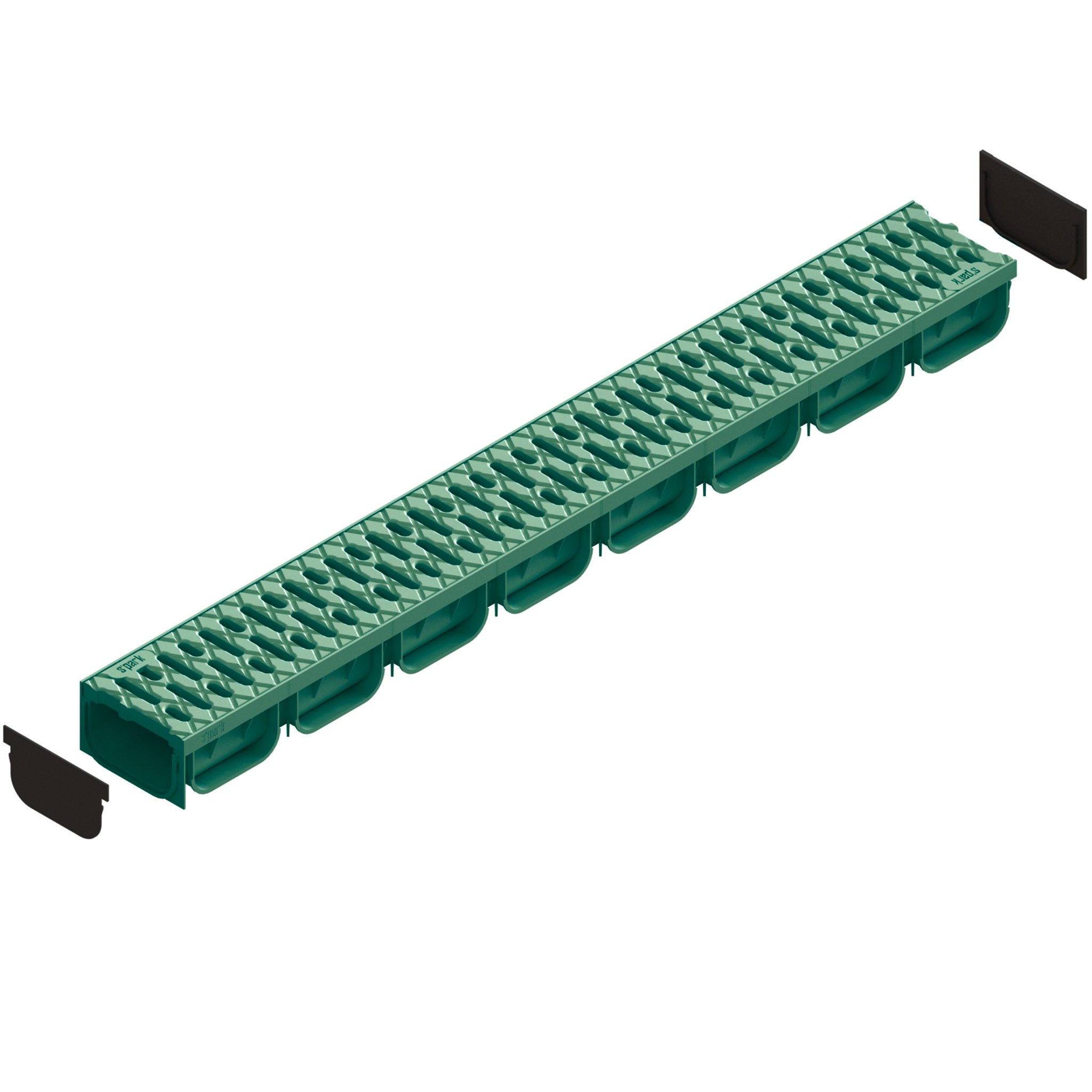 Standartpark - 4 Inch Trench Drain System With Grate - GREEN - Spark 2 (1)