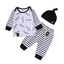 WESIDOM Baby Girls Boys Striped Outfits with Hat,3PCS Infant Baby Long Sleeve Shirt and Pants
