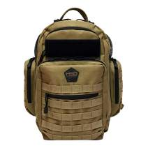 HSD Diaper Bag Backpack for Dad, Large Waterproof Travel Baby Bag for Men + Changing Pad, Insulated Pockets, Stroller Straps and Wipe Pocket. Multi-function, Military Tactical Style (Coyote Brown)
