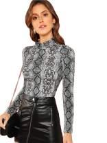 Floerns Women's Long Sleeve Mock Neck Slim Snakeskin T Shirt Tops