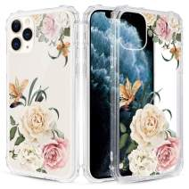 Caka Clear Case for iPhone 11 Pro Max Floral Clear Case Flower Pattern Design Girly Women Girls Cute Slim Soft Flexible TPU Transparent Shockproof Protective Case for iPhone 11 Pro Max 6.5 (Camellia)