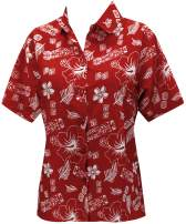 LA LEELA Women's Hawaiian Blouse Shirt Beach Aloha Party Casual Holiday Printed