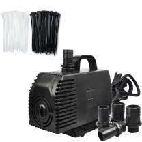 Simple Deluxe 1056 GPH Submersible Pump with 15ft Cord for Fish Tank, Hydroponics, Ponds Fountains with 200 Pcs 8 Inch Self-Locking Versatile Nylon, Upgraded 1056GPH, Cable Wire Zip Ties