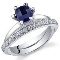 Created Sapphire Band Ring Sterling Silver Rhodium Nickel Finish 1.25 Carats Sizes 5 to 9