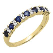 Dazzlingrock Collection 14K Round Gemstone & Diamond Ladies Bridal Anniversary Wedding Band, Yellow Gold