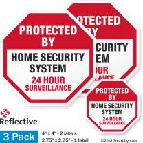 """SmartSign Protected by - Home Security System, 24 Hour Surveillance Label Set 