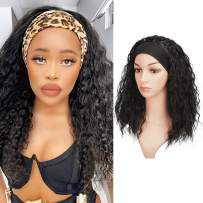 Headband Wigs for Black Women, BARSDAR Curly Synthetic Hair Wigs 20 inch Fully None Lace Front Hair Wig with Black Headband Natural Color Yaki Hair Easy to Wear(Off Black)