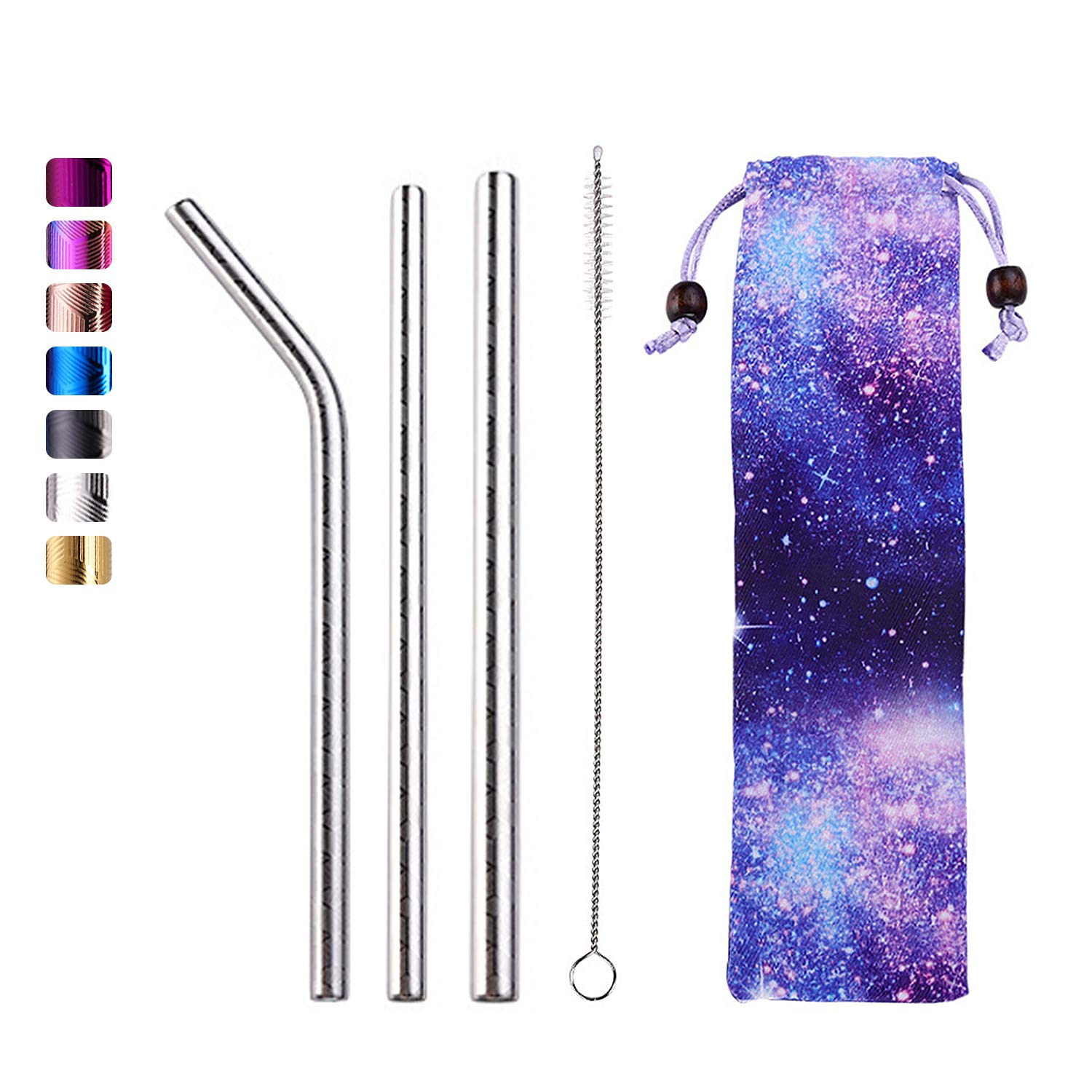 Reusable Metal Straws- Stainless Steel Straws- Portable Travel Drinking Straws for Tumplers- 3 Set