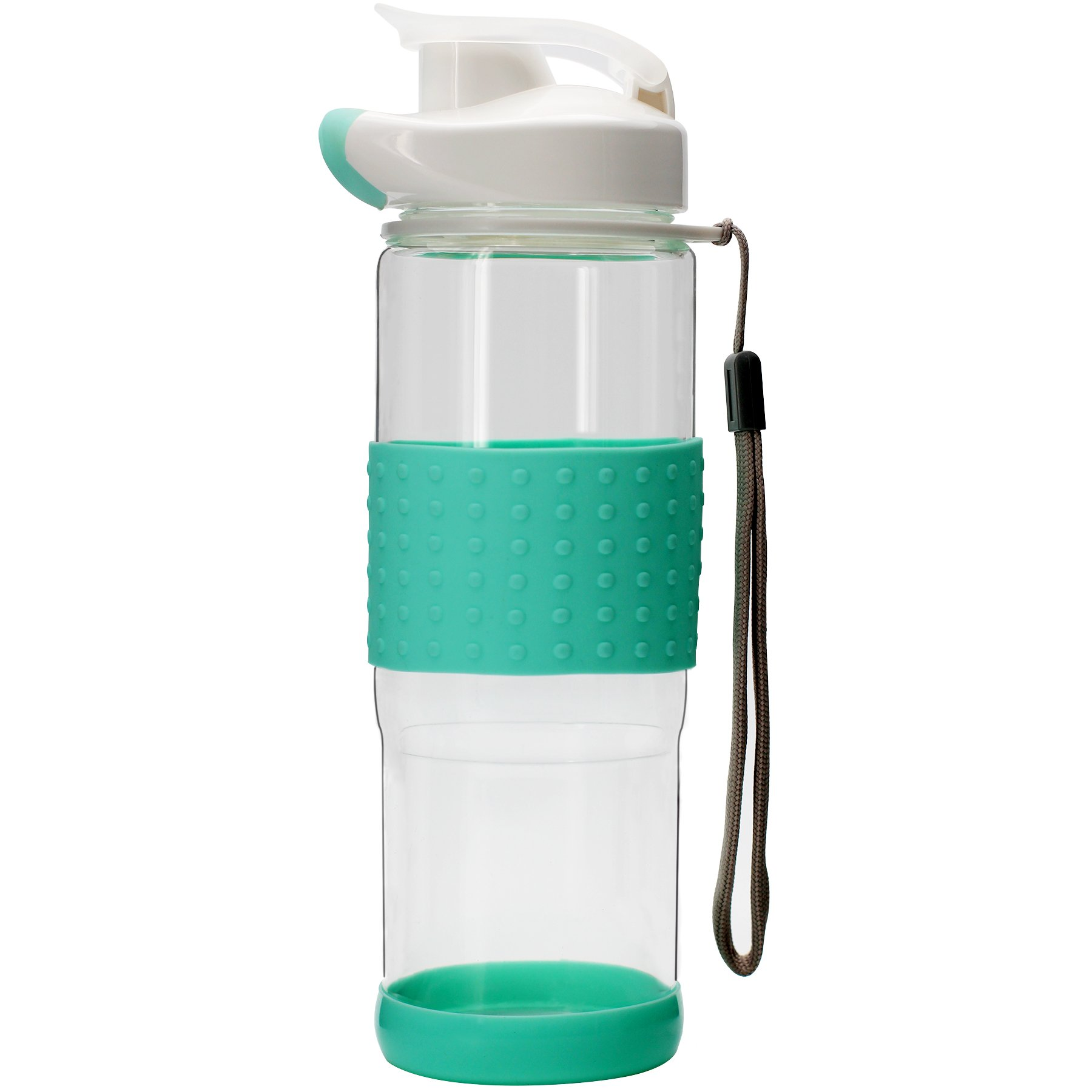 Bonison Flip Top Glass Water Bottle Silicone Wrap Glass Bottle Wide Mouth Spout Bottle BPA Free Lead Free Drinking Cup with Flip Top Lid Spout Cap Carrying Handle String-18.5 oz