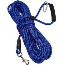 Mycicy 10ft 15ft 30ft 50ft Long Line Training Rope Leash, Soft Handle Heavy Duty Nylon Recall Lead for Small Medium Large Dogs