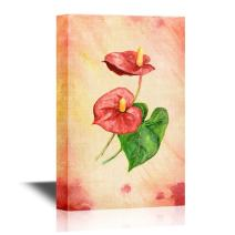 wall26 - Leaf and Floral Canvas Wall Art - Abstract Flower on Watercolor Style Background - Gallery Wrap Modern Home Decor | Ready to Hang - 24x36 inches