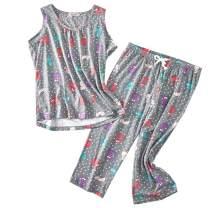 ENJOYNIGHT Womens Pajama Sleeveless Print Sets Tank Capir Pants Sleepwear Sets