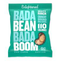 Bada Bean Bada Boom Plant-based Protein, Gluten Free, Vegan, Non-GMO, Soy Free, Kosher, Roasted Broad Fava Bean Snacks, 110 Calories per Bag, Zesty Ranch, 1 Ounce (24 Count)