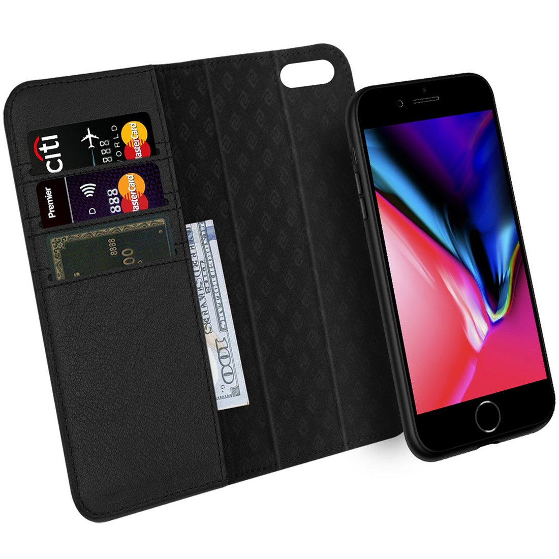 [Updated] ZOVER iPhone 8 Plus 7 Plus 6 Plus Detachable Wallet Case Genuine Leather Luxury Series RFID Blocking Magnetic Clasps Support Car Mount Kickstand Feature Card Bison Fone Slots Gift Box Black