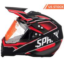 MotorFansClub Motorcycle Modular Full Face Helmet Off-Road Dirt Bike Motorcycle Flip Up Dual Visor Sun Shield Fit for Compatible with Adult (Red, X-Large)