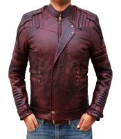 Blingsoul Red Leather Jacket Mens - Distressed Biker Jacket Costumes