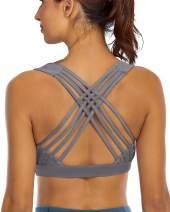 YIANNA Sports Bras for Women Cross Back Padded Sports Bra Medium Support Workout Running Yoga Bra
