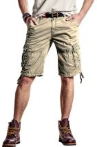 Mens Flat Front Shorts Casual Classic Fit Cargo Shorts 100% Cotton Work Shorts with Pockets