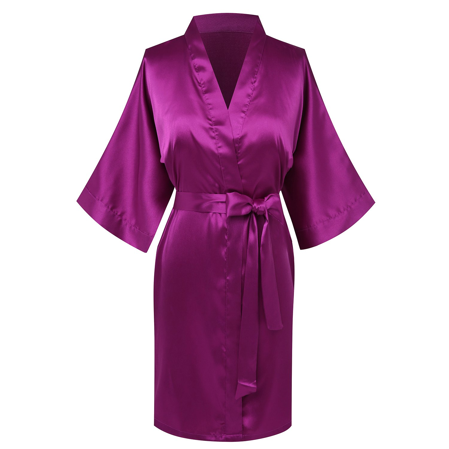 Joy Bridalc Women's Satin Short Kimono Bridemaid Robe Bathrobe for Wedding Party