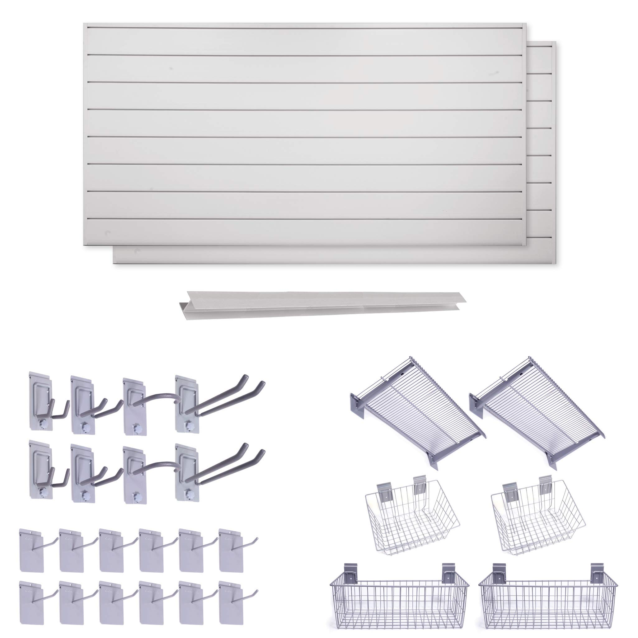 """Crownwall 6"""" Super Bundle (64 sqft) with 26-Piece Accessory Kit (Dove Grey)"""