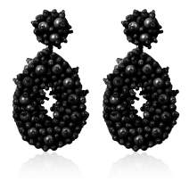 Jstyle Statement Drop Earrings for Women Girls Bohemian Handmade Beaded Round Earrings Dangles for Party Daily Work
