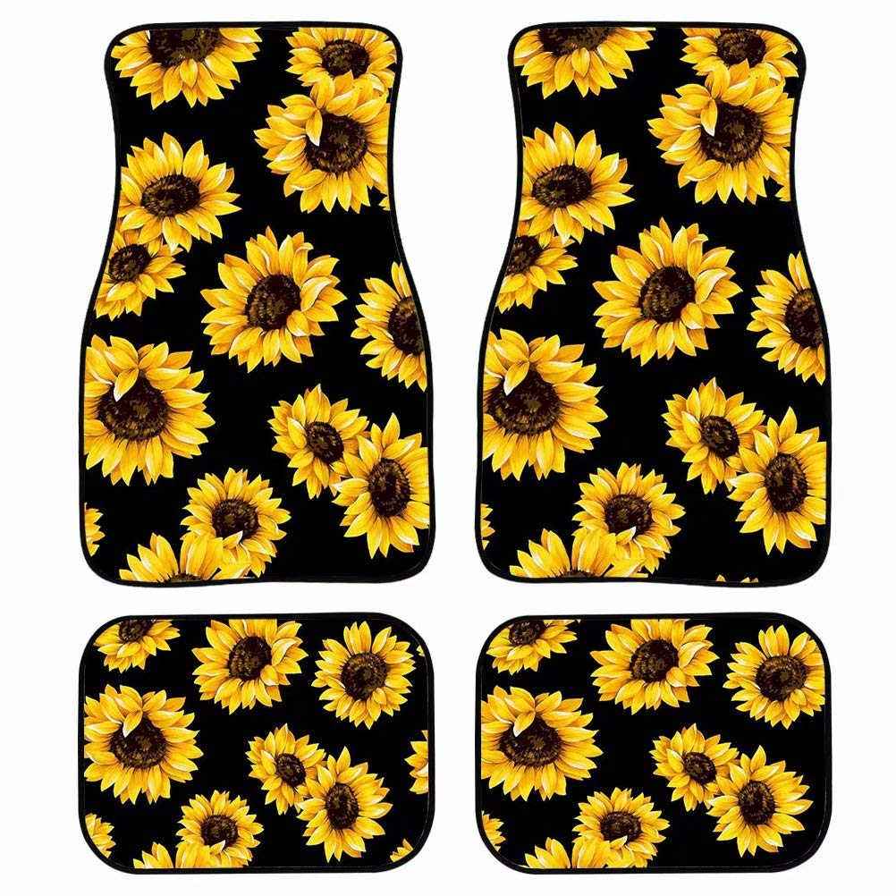 Tupalatus Sunflower Car Mat Universal Fit 4-Piece Set Car Floor Mats - Heavy Duty All Weather with Rubber Backing, Non Slip, Dirty Resistant Automotive Accessories