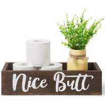 Dahey Bathroom Decor Box, Toilet Paper Holder, Farmhouse Rustic Wood Box Funny Home Decor for Bathroom Kitchen ( Mason Jar and Artificial Flower Included ) , Brown
