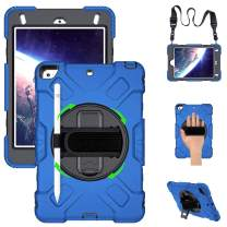 GROLEOA iPad Mini 5/4 Case, Shockproof [Full-Body] Rugged Armor Case with 360 Rotating Stand [Pencil Holder] Hand Strap Neck Strap for iPad Mini 5th/4th Generation 7.9 inch(Blue+Black)