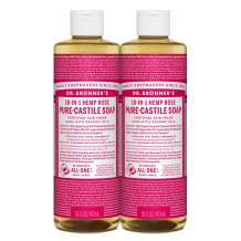 Dr. Bronner's - Pure-Castile Liquid Soap (Rose, 16 ounce, 2-Pack) - Made with Organic Oils, 18-in-1 Uses: Face, Body, Hair, Laundry, Pets and Dishes, Concentrated, Vegan, Non-GMO