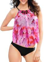 Azokoe Women 2 Piece Swimsuit High Neck Halter Shell Pattern Printed Tankini Set with Ruched Bottom Tummy Control