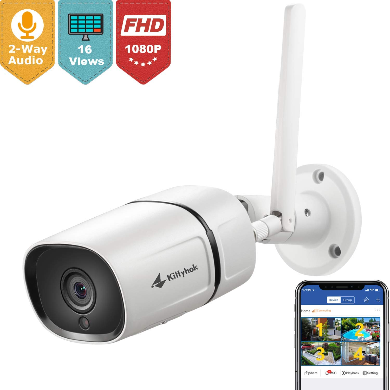 Kittyhok Wireless Security Camera Outdoor, 1080P Full HD 2.4Ghz Wire or WiFi Surveillance Cameras with Two-Way Audio/ Motion Detection/ Night Vision/ IP65, Works with iOS/ Android/ Mac/ Windows