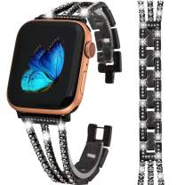 Greaciary Bling Band Compatible for Apple Watch Band 38mm/40mm Diamond Jewelry Replacement Metal Wristband Strap Women Girls compatible for iWatch Series 5/4/3/2/1 Black