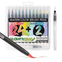 Crafty Croc Watercolor Paint Brush Pens - Set of 24 Vibrant Water Color Brush Markers with Real Nylon Tips for Watercolor Painting and Hand Lettering- Includes Travel Case and 2 Water Blending Brushes