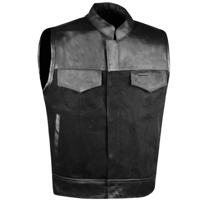 SOA Men's Leather and Denim Motorcycle Club Vest Gun Pockets Biker w/Armor S