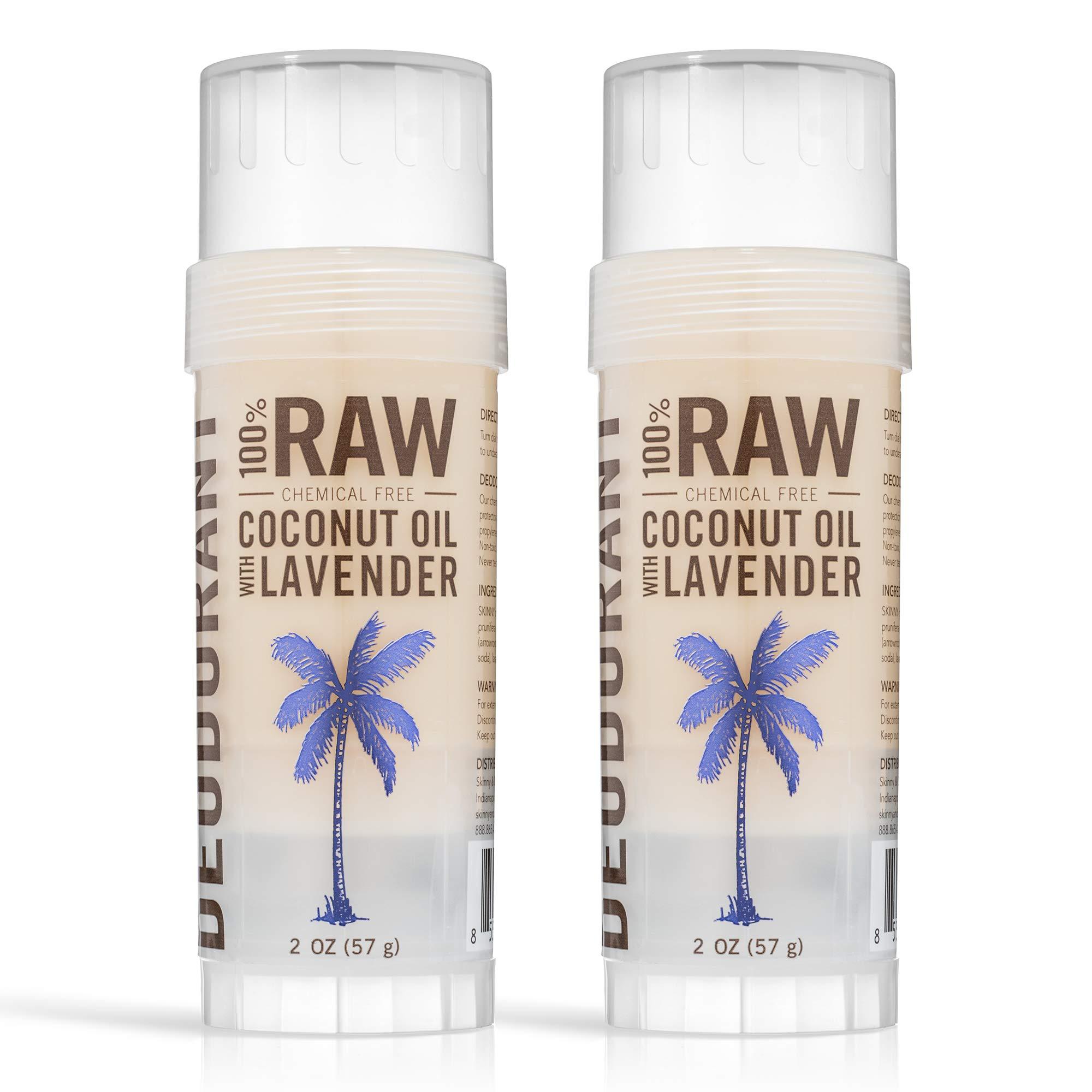 SKINNY & CO. 100% Pure Coconut Oil with Lavendar Deodorant- Anti-odor, Antibacterial, Fast Absorbing, Soothes Skin, Vegan, Aromatherapeutic Properties, Aluminum & Paraben Free, 2 oz. (2 pack)