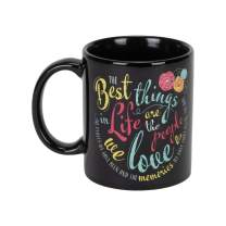 The Best Things In Life Teal 11 Ounce Ceramic Stoneware Novelty Coffee Mug