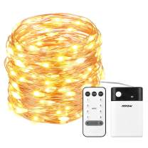 Mpow 33ft 100 LED Battery Operated String Lights, Fairy String Lights Remote Control, Decorative Lights Dimmable, Copper Wire Lights Bedroom, Patio, Garden, Parties (2 Colors Changable)