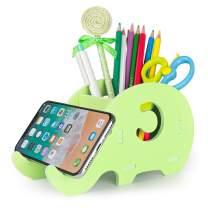 Desk Supplies Organizer, Mokani Cute Elephant Pencil Holder Multifunctional Office Accessories Desk Decoration with Cell Phone Stand Office Supplies Desk Decor Organizer Christmas Gift, Green