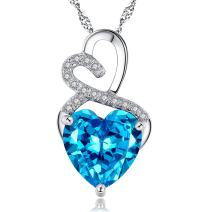 MABELLA Simulated Birthstone Double Heart Necklace Sterling Silver Pendant Gifts for Women