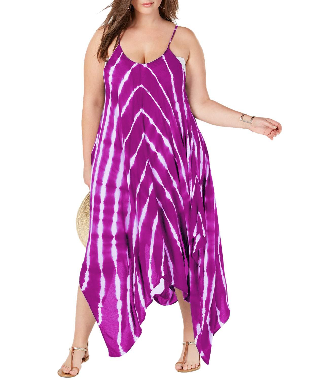 Womens Swimsuit Cover up Plus Size Beach Dress Tie Dye Maxi Coverups  Bathing Suits Swimwear Purple