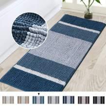 Bathroom Runner Extra Long Bathroom Rug for Bathroom Super Absorbent Bath Mat Non Slip Microfiber Shower Rug for Bathroom Tub Microfiber Shaggy Carpet Rug 47 x 17 inches, Moroccan Blue