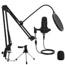 USB Condenser Microphone Mirfak TU1 Professional Computer Gaming Mic Kit with Adjustable Mic Suspension Scissor Arm and Pop Filter for Recording Streaming