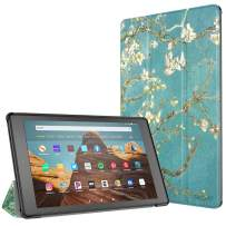 TiMOVO Slim Case for All-New Amazon Fire HD 10 Tablet (9th Generation, 2019 Release and 7th Generation, 2017 Release) - Ultra Lightweight Stand Cover Case for Fire HD 10.1 Inch Tablet, Almond Blossom