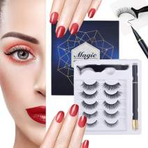 5 Pairs Reusable Magnetic Eyelashes and Magnetic Eyeliner Kit, Upgraded 3D Magnetic Eyelashes Kit With Tweezers Inside, No Glue Needed Magnetic Eyeliner and Magnetic Eyelash Kit ¡