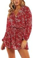 Uni Clau Women's Bohemian Dress - Print Loose Sleeve Swing T-Shirt Mini Dress Small Red