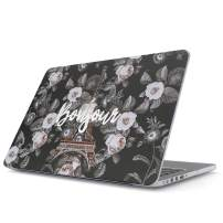 Glitbit Hard Case Cover Compatible with MacBook Pro 15 Inch Case Release 2016-2018, Model: A1990 / A1707 with Touch Bar Bonjour Paris Eiffel Tower Floral France City of Love Roses Flower