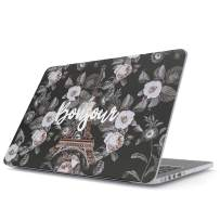 """Glitbit Hard Case Cover Compatible with MacBook Air 11 Inch Case, Model: A1370 / A1465 11-11.6 Inch 11"""" Bonjour Paris Eiffel Tower Floral France City of Love Roses Flower"""