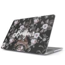 Glitbit Hard Case Cover Compatible with MacBook Air 13 inch Case Release 2018-2019, Model: A1932 with Retina Display and Touch ID Bonjour Paris Eiffel Tower Floral France Love Roses Flower