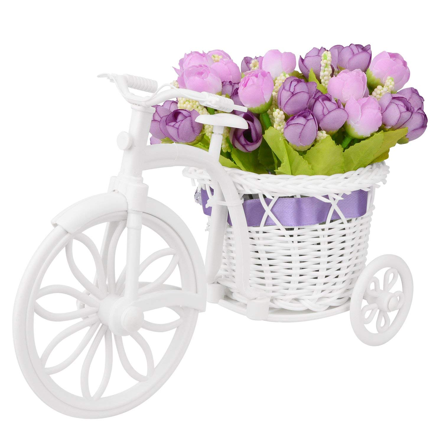 Takefuns Small Artificial Flowers Garden Nostalgic Bicycle Artificial Flower Decor Plant Stand Mini Garden for Home Wedding Decoration (Purple)